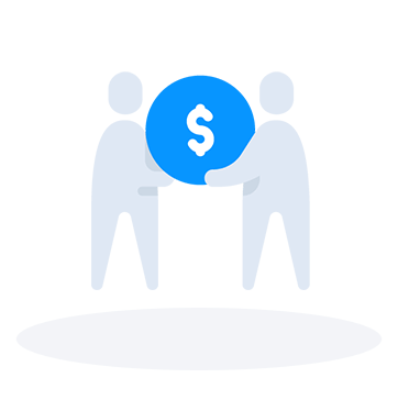 Two people carrying a currency icon