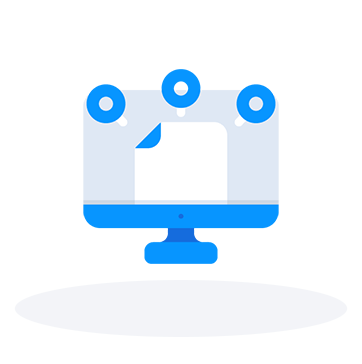Computer monitor with a pinned document icon