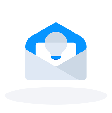 Opened email with a lightbulb icon