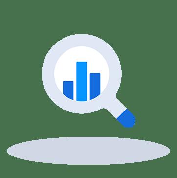Magnifying glass statistics icon