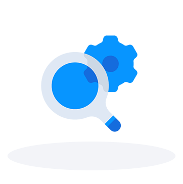 Magnifying glass gears icon